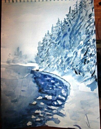 акварельная зима. пейзаж