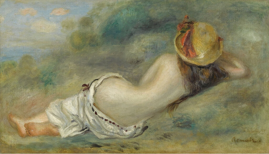 Pierre Auguste Renoir - Bather in Hat Laying on the Grass, 1892.jpeg