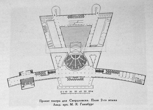 Конкурсный проект на здание театра для Свердловска, архитектор М. Я. Гинзбург, план