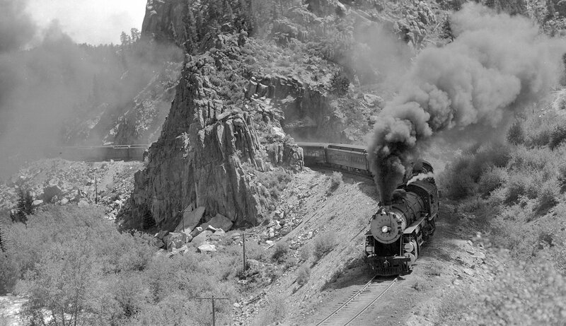 Denver & Rio Grande Western train, engine number 1205, and engine number 1203. 1939.