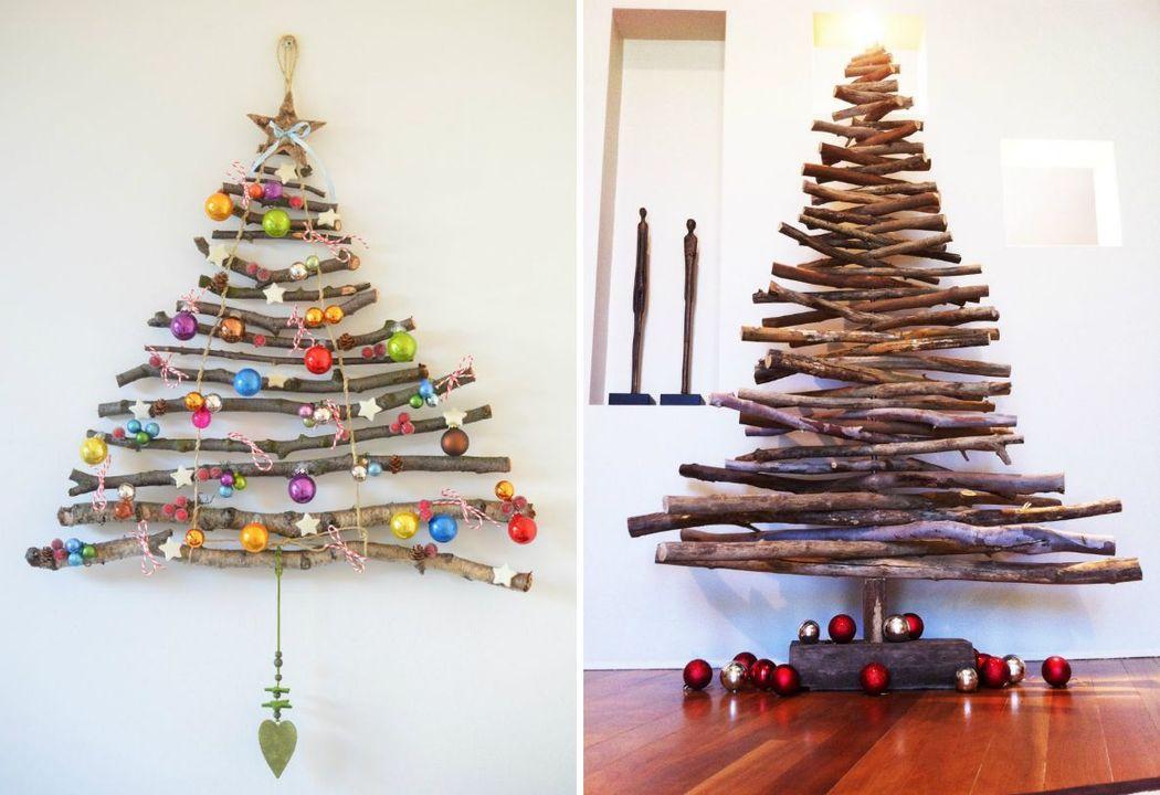 4. Елка из веток Ветки можно закрепить на стене или смастерить из них подобие настоящей елки. Классн