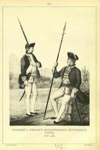 451. РЯДОВОЙ и ОФИЦЕР Мушкетерского Кеттенбурга полка. 1762 года.
