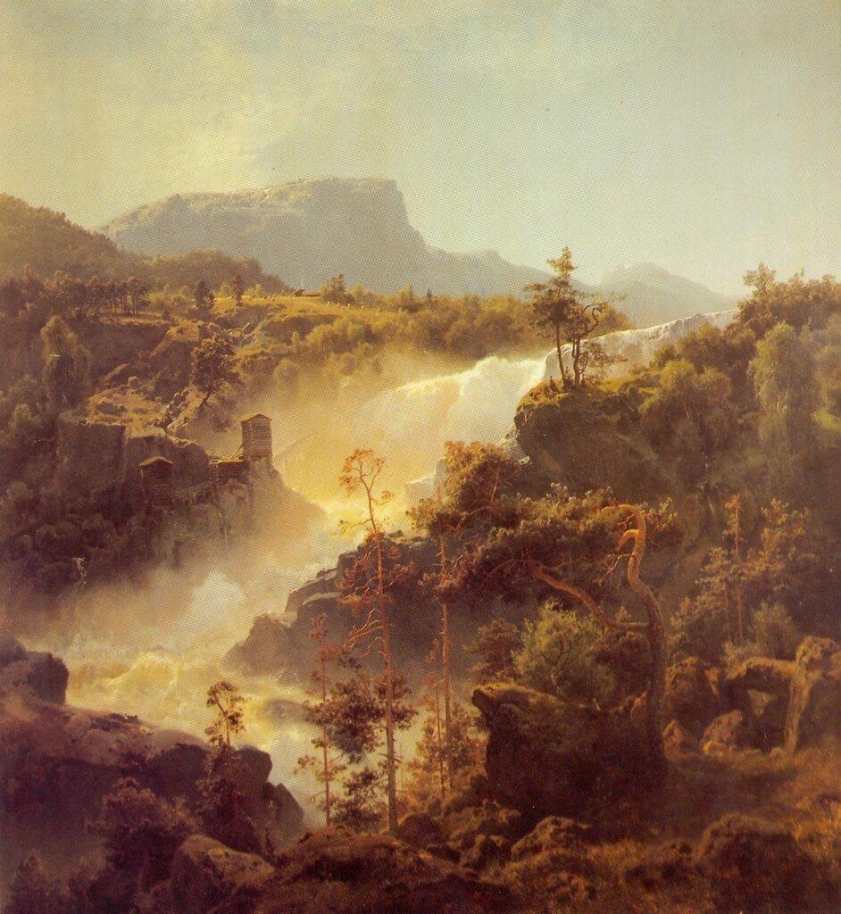 Hans Gude--Tessefossen I Vaga I Middagsbelysning--1848.jpg