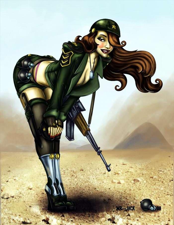 Армейский пин-ап разных художников - девушки с оружием (1)