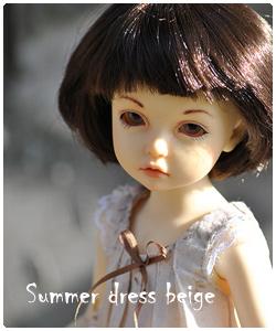 Cotton beige summer dress for tiny bjd, бежевое хлопковое платье для тини бжд
