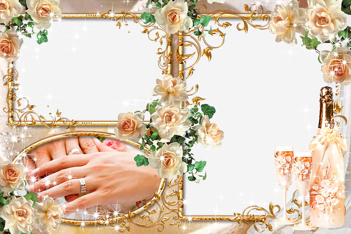 Две красивые свадебные рамки для фото в золотом стиле