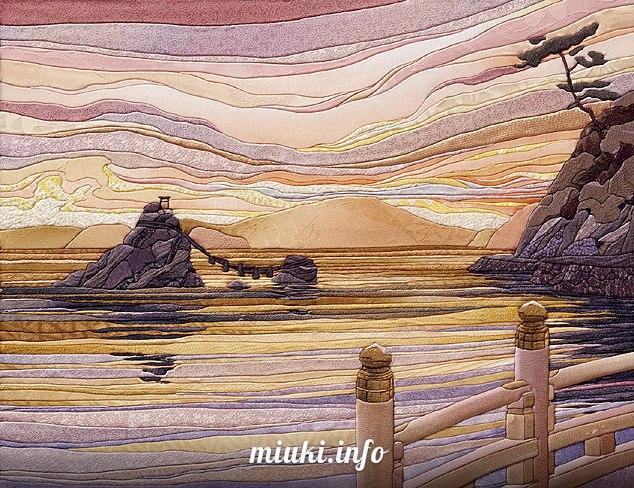 Японское рукоделие кинусайга — картины из шелка