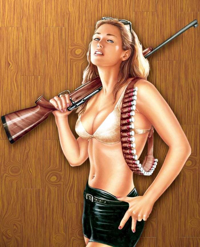 Армейский пин-ап разных художников - девушки с оружием (19)