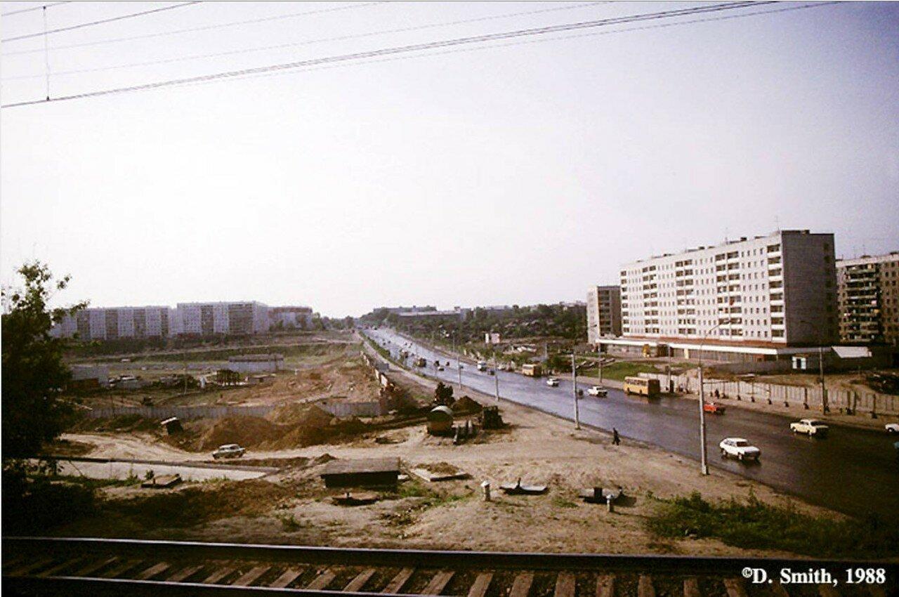 Вид Новосибирска из окна поезда на Транссибирской магистрали