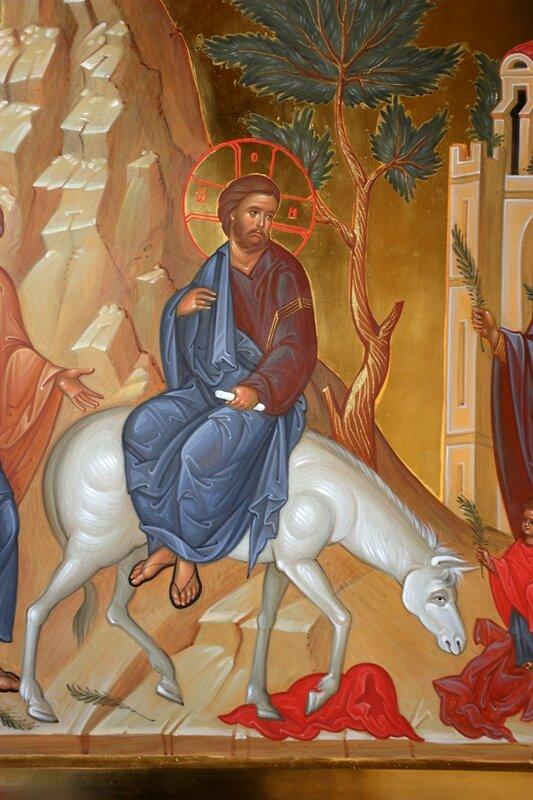 Вход Господень в Иерусалим. Иконописец Наталия Пискунова. Фрагмент. Христос.