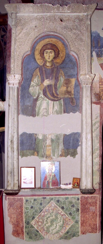 Святой Великомученик и Целитель Пантелеимон. Фреска церкви Св. Пантелеимона в Нерези, Македония. 1164 год.