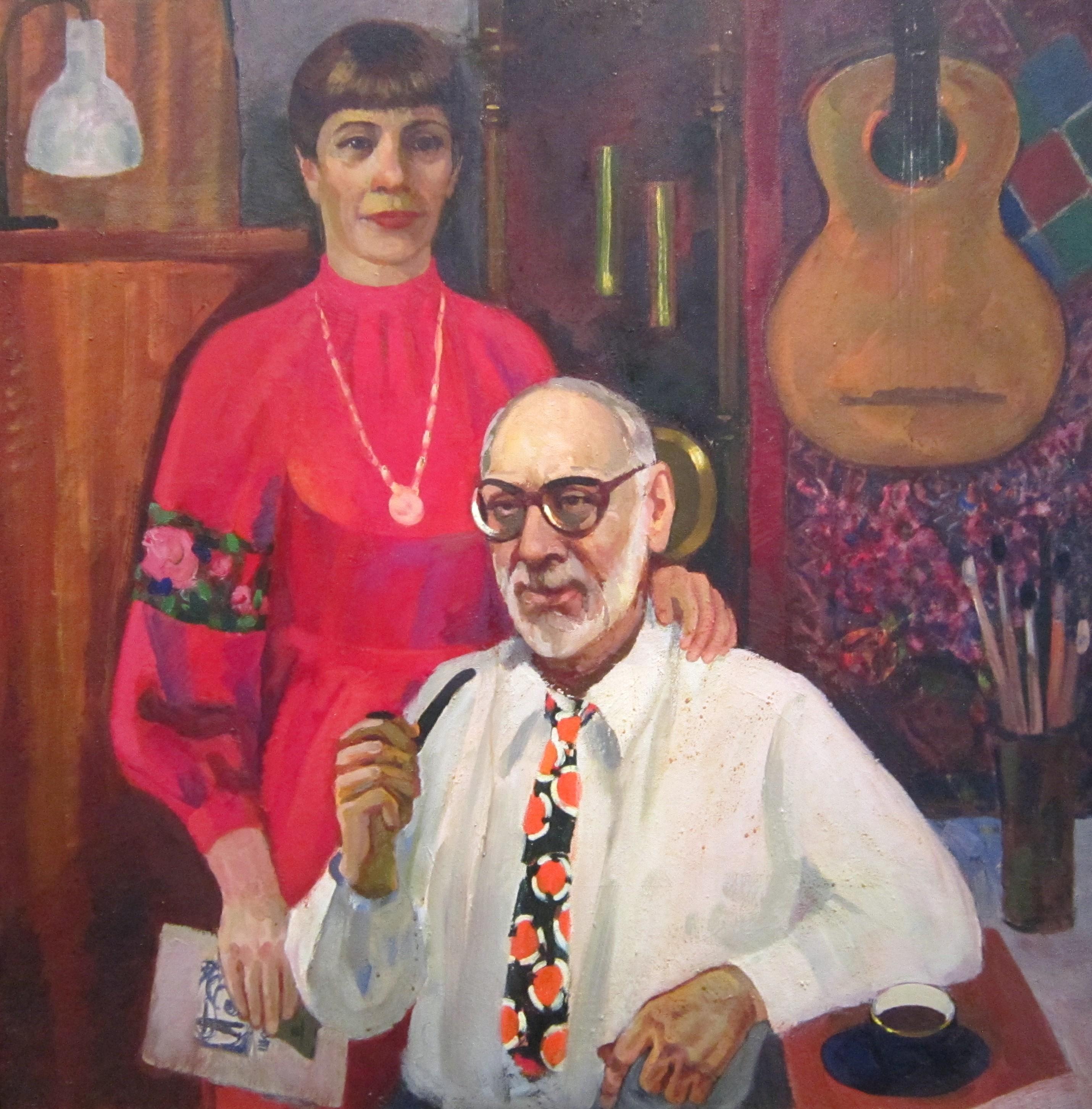 Людмила Савельевна Скопцова (1929-2005 гг.). Автопортрет с мужем. 1999 год.