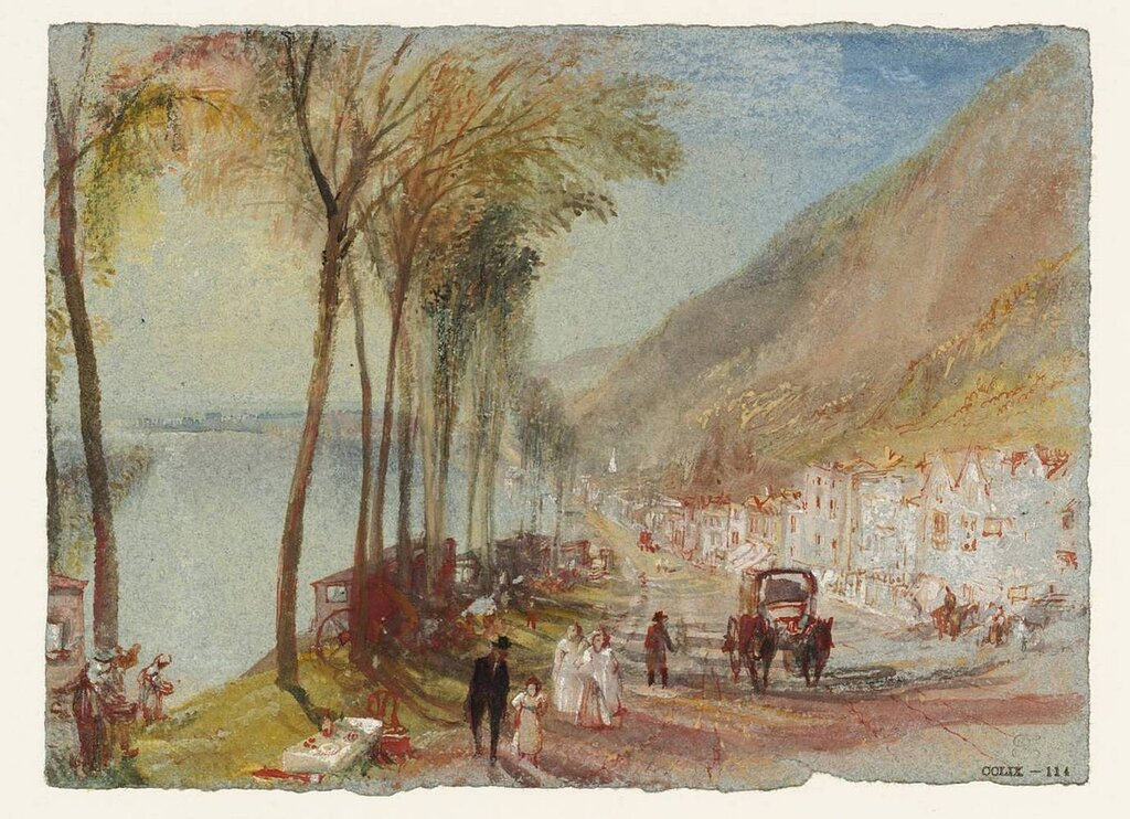 View on the Seine between Mantes and Vernon (Rolleboise on the road from Bonnieres) circa 1833 by Joseph Mallord William Turner 1775-1851