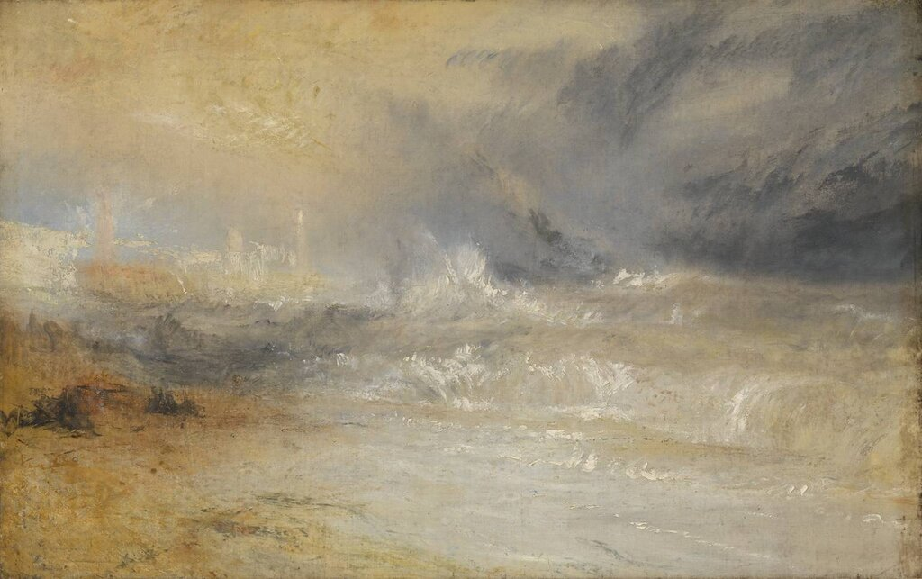Waves Breaking on a Lee Shore at Margate (Study for 'Rockets and Blue Lights') c.1840 by Joseph Mallord William Turner 1775-1851