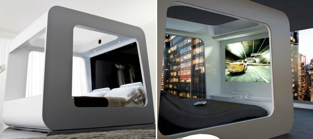 6. Кровать со встроенным телевизором Теперь можно смотреть любимый фильм или играть в компьютерные и