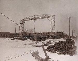 Минные крейсераМосквитянини Доброволецво время постройки на стапелях Путиловского завода.