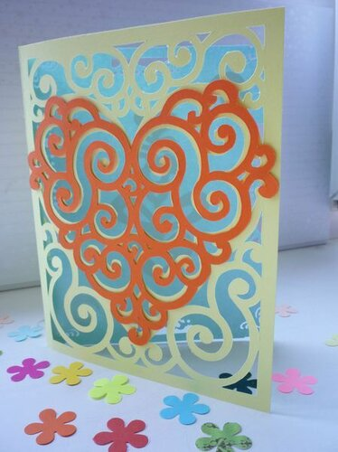 Контурная открытка. Цветущее сердце. Мастер-класс