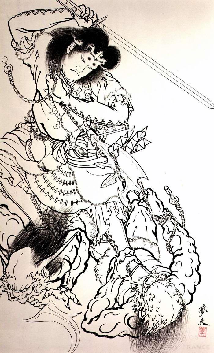 Злобные демоны на эскизах татуировок японского художника Horiyoshi (43)