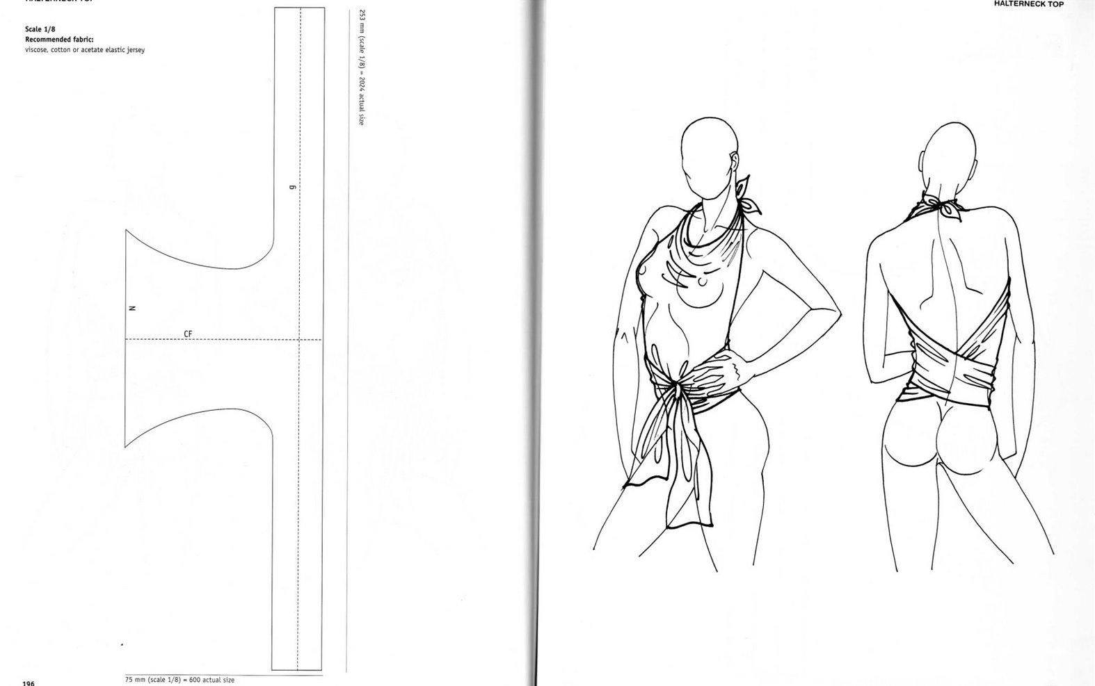 пляжная блузка с открытой спинкой, выкройка