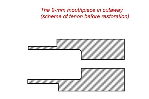Мундштук 9 мм в разрезе (до реставрации)