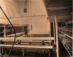 Вид части одной из палат плавучего госпиталя Орёл со столовой для выздоравливающих.