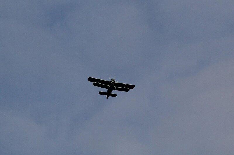 Самолет АН-2 с бортовым номером RF-00418 в небе над Порошинским аэродромом