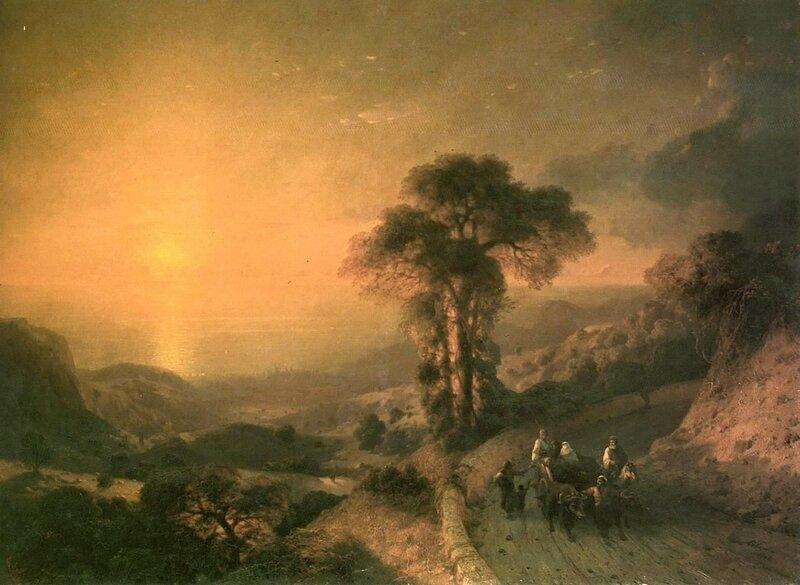 Айвазовский. Вид моря с гор при закате солнца.jpg
