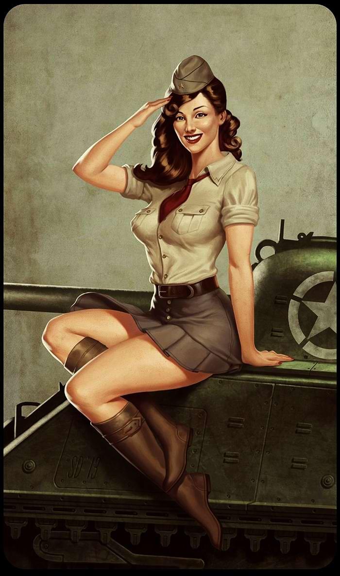 Армейский пин-ап разных художников - девушки с оружием (8)