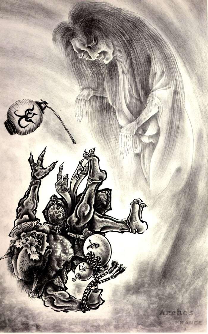 Злобные демоны на эскизах татуировок японского художника Horiyoshi (8)