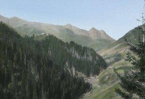 Вид горной местности и Лагурского монастыря