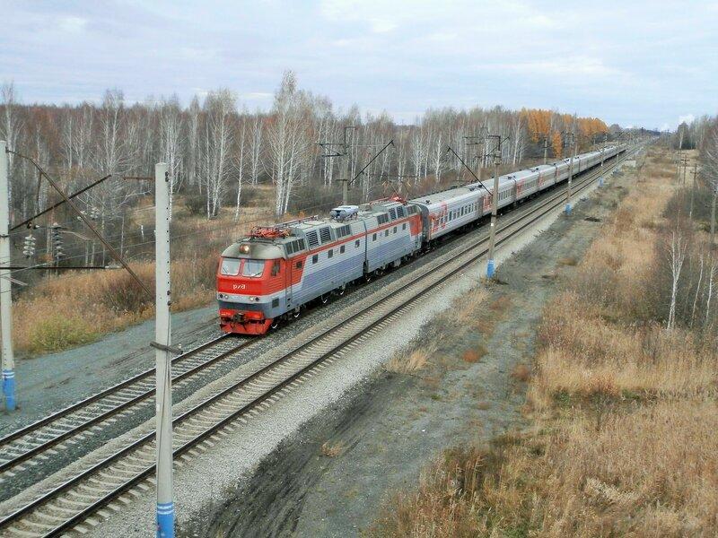 Электровоз ЧС7-259 с поездом № 101 на перегоне УАЗ - Пост 19 км