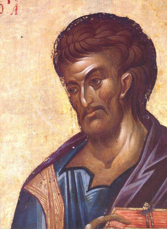 Святой Апостол и Евангелист Лука. Икона в монастыре Хиландар на Святой Горе Афон. 1360-е годы. Фрагмент.