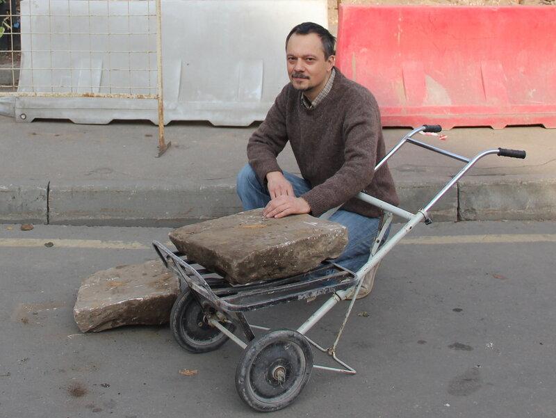 Тротуарные плиты песчаника Хитровской площади. 190 лет