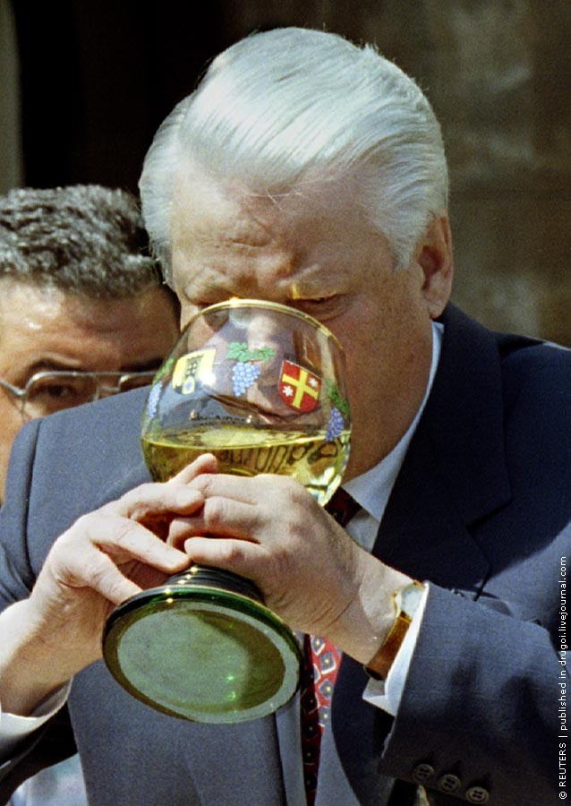 Russian President Boris Yeltsin drinks some white wine from Chancellor-Kohl's homeland Rhineland - Palatinate, during a visit to Deidesheim, May 12