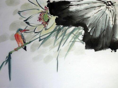 2014 06 14 Зимородок и цветущий лотос 32х44 см.JPG