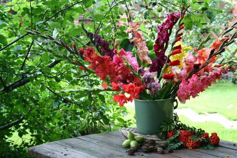 Сколько красок, оттенков, нюансов в удивительных, строгих цветах! Композиции с гладиолусами