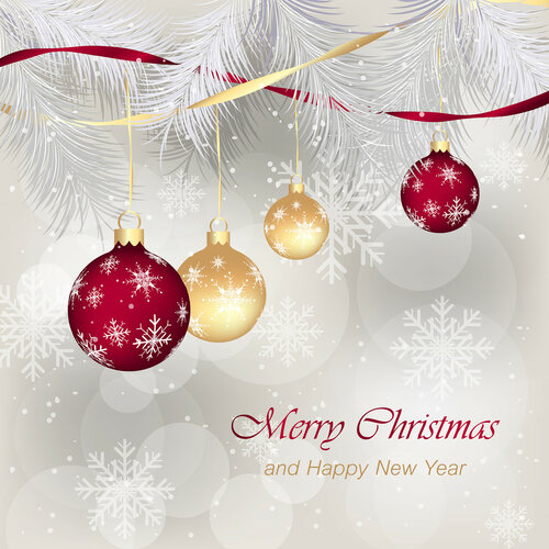 Christmas greeting for card. Ornamented Christmas bauble, needles and snowflakes.