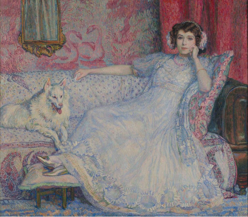Theo van Rysselberghe - Lady in White (Portrait of Madame Helene Keller), 1907.jpeg