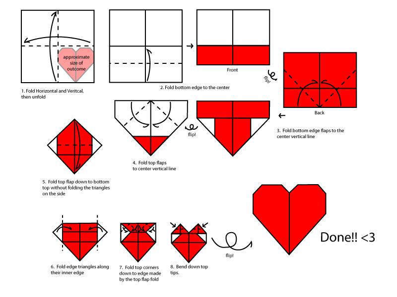 Оригами Сердце / Схема 1