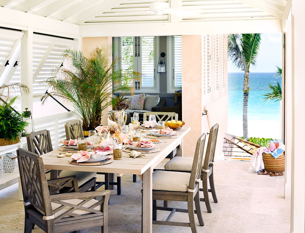 терраса, вид море, стол, стулья, пальмы