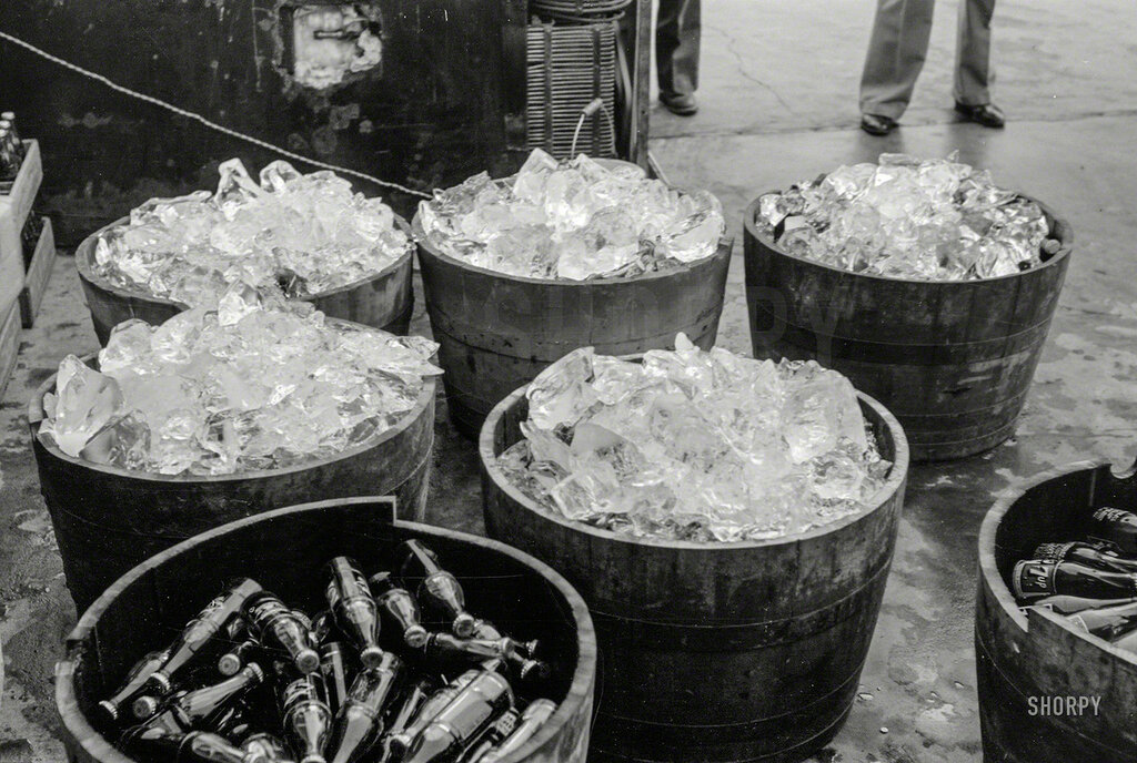 October 1938. Ice at refreshment stand, state fair, Donaldsonville, Louisiana