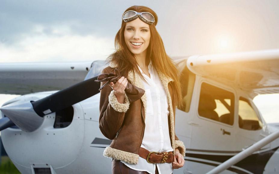 картинки девушки и самолеты