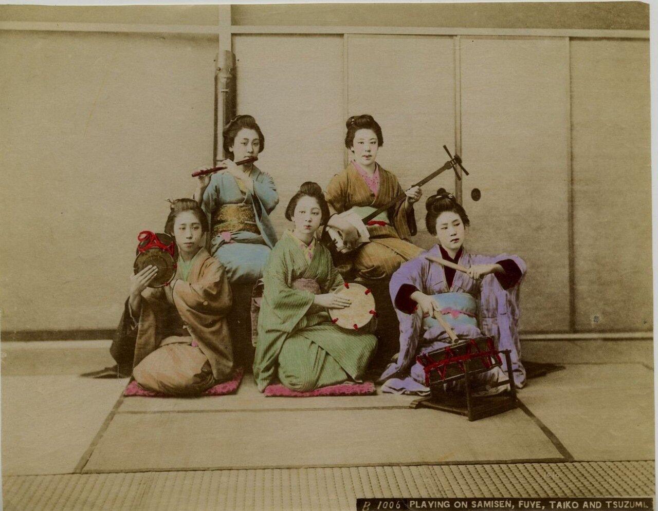 Исполнительницы на сямисэн, файе, тайко и тсузуми