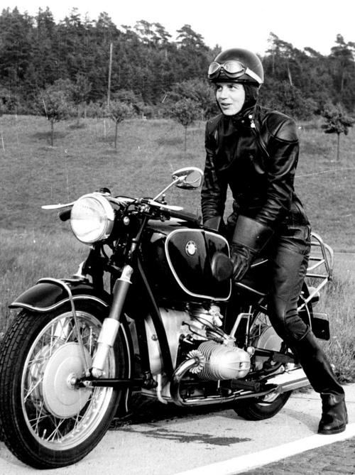 Journalist and female motorcycle trailblazer Anke-Eve Goldmann with her BMW R69S, 1957..jpg