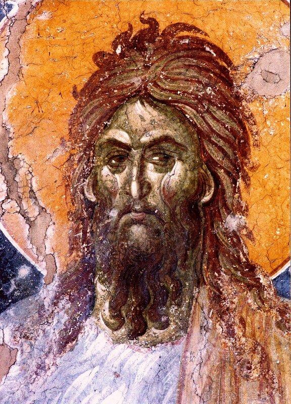 Святой Иоанн Предтеча. Фреска монастыря Грачаница, Косово, Сербия. Около 1320 года. Лик.
