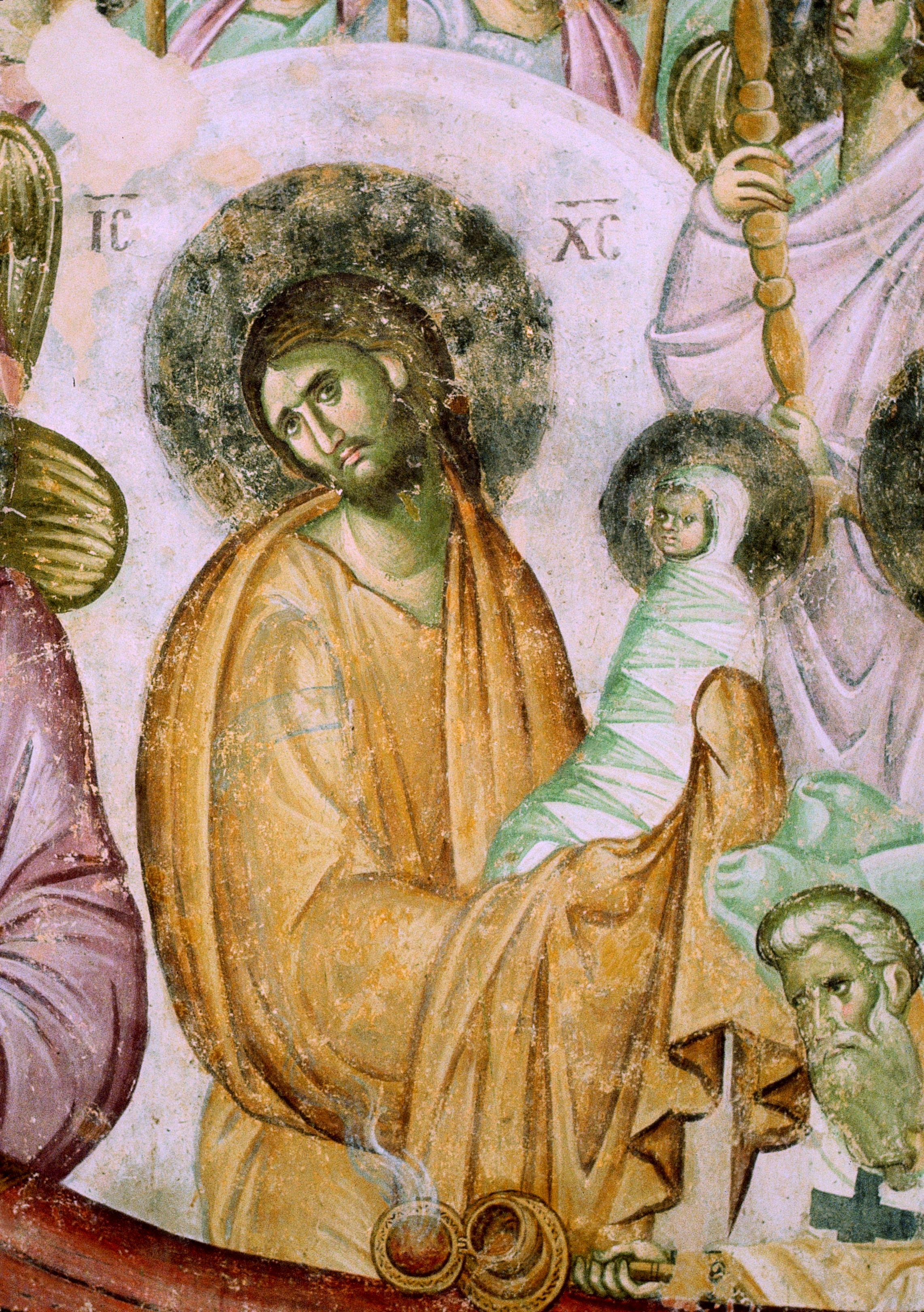 Успение Пресвятой Богородицы. Фреска XIII века в монастыре Сопочаны, Сербия. Фрагмент. Христос с душой Богородицы на руках.