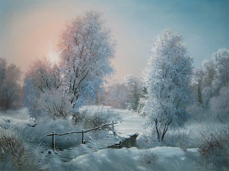 Владимир Воробьев. Зимний вечер в лесу.jpg