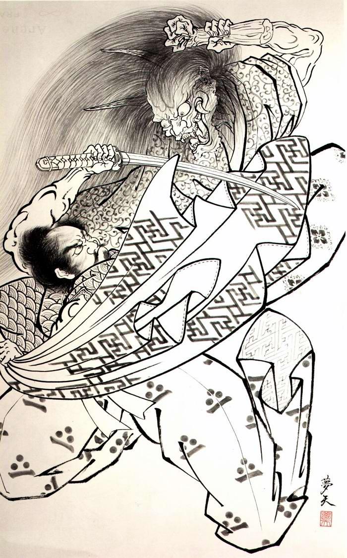 Злобные демоны на эскизах татуировок японского художника Horiyoshi (40)