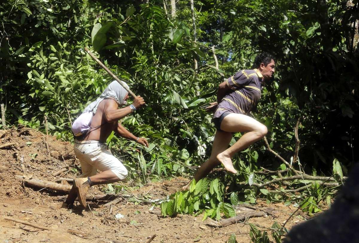 А этот незаконный рубщик леса попытался сбежать и огребся по полной программе