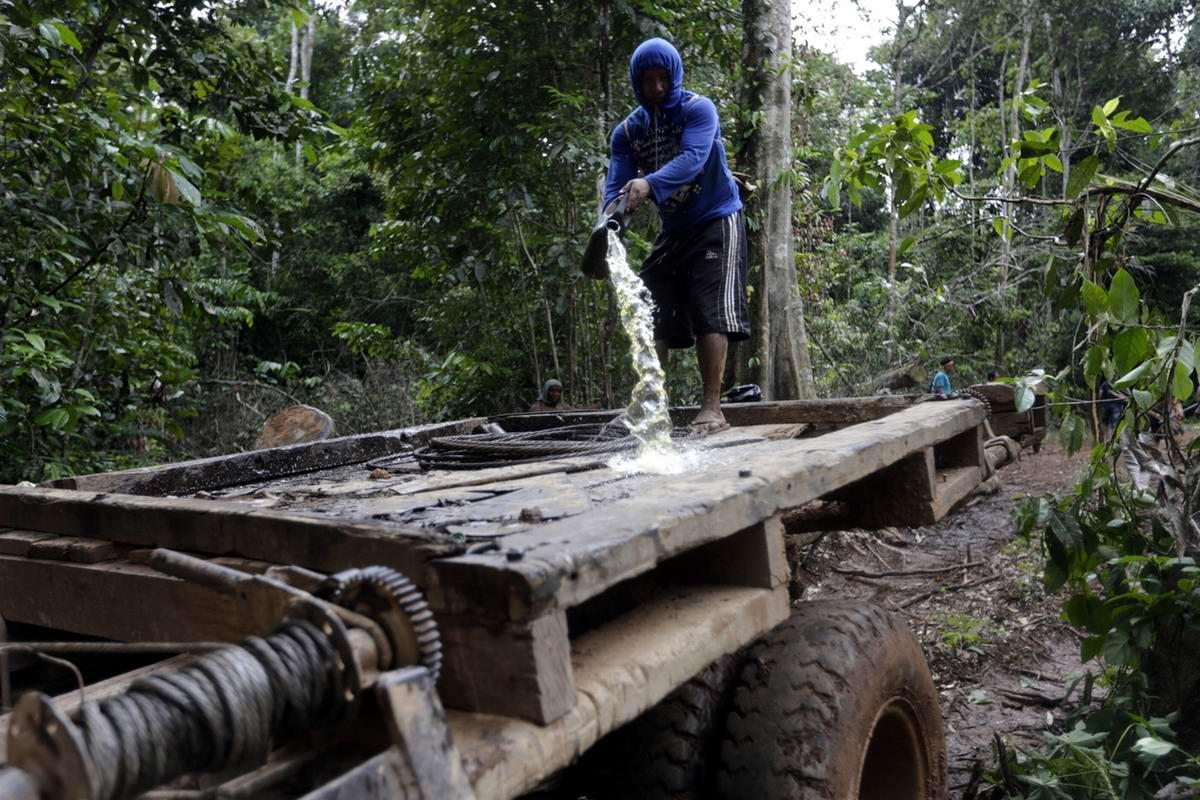 Один из индейцев поливает бензином захваченную технику незаконных лесорубов